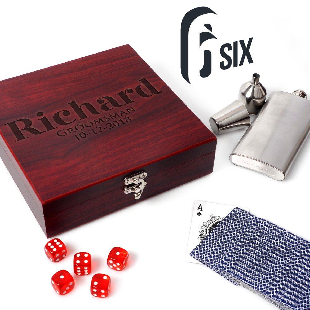 Set of 6 - Personalized Rosewood Finish Flask Gift Set, Groomsmen Gift Set | Rosewood Gift Box - Gifts for Groomsmen Flasks, Wedding Favor | Flask for Liquor, Personalized Groomsman Flasks
