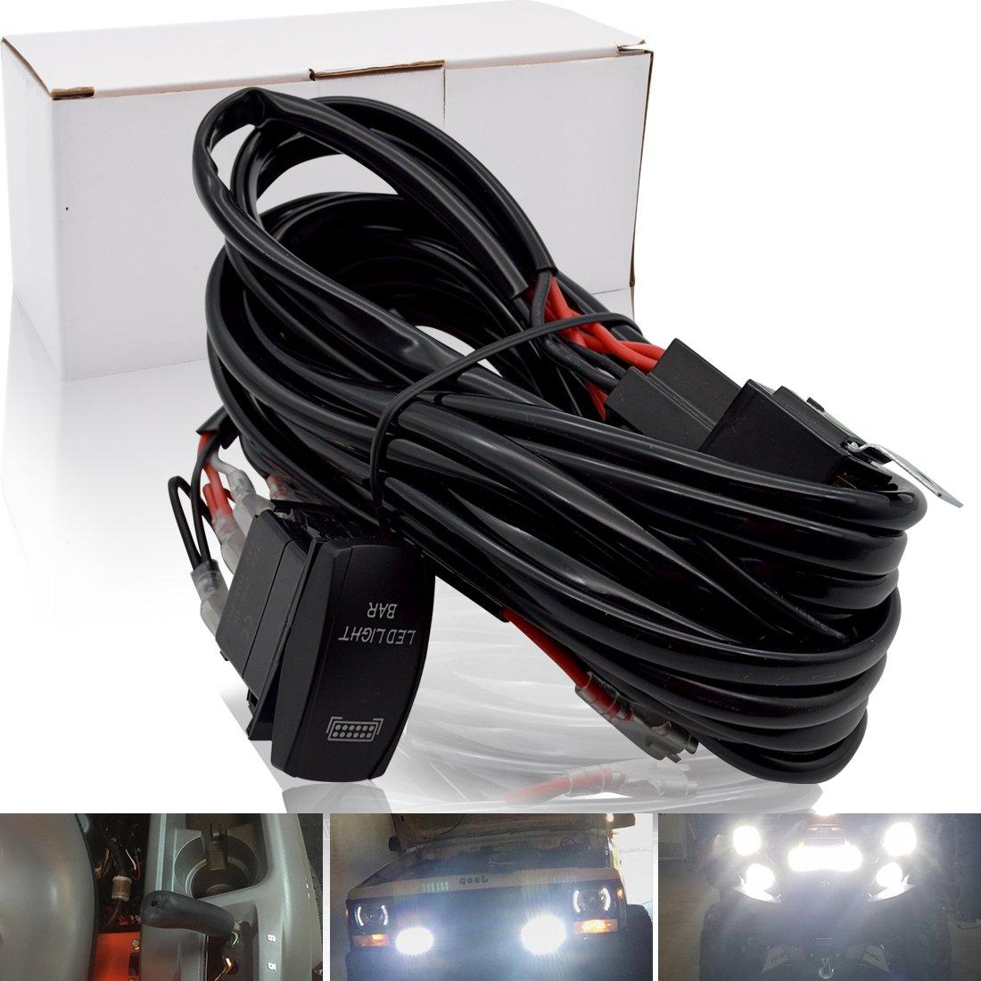 Safego Kit de Cableado de Barra de Trabajo LED con Interruptor de Balancín de Encendido / Apagado de 5 Pines Relé 40A 2 Conectores de luz Para ATV SUV y Camión