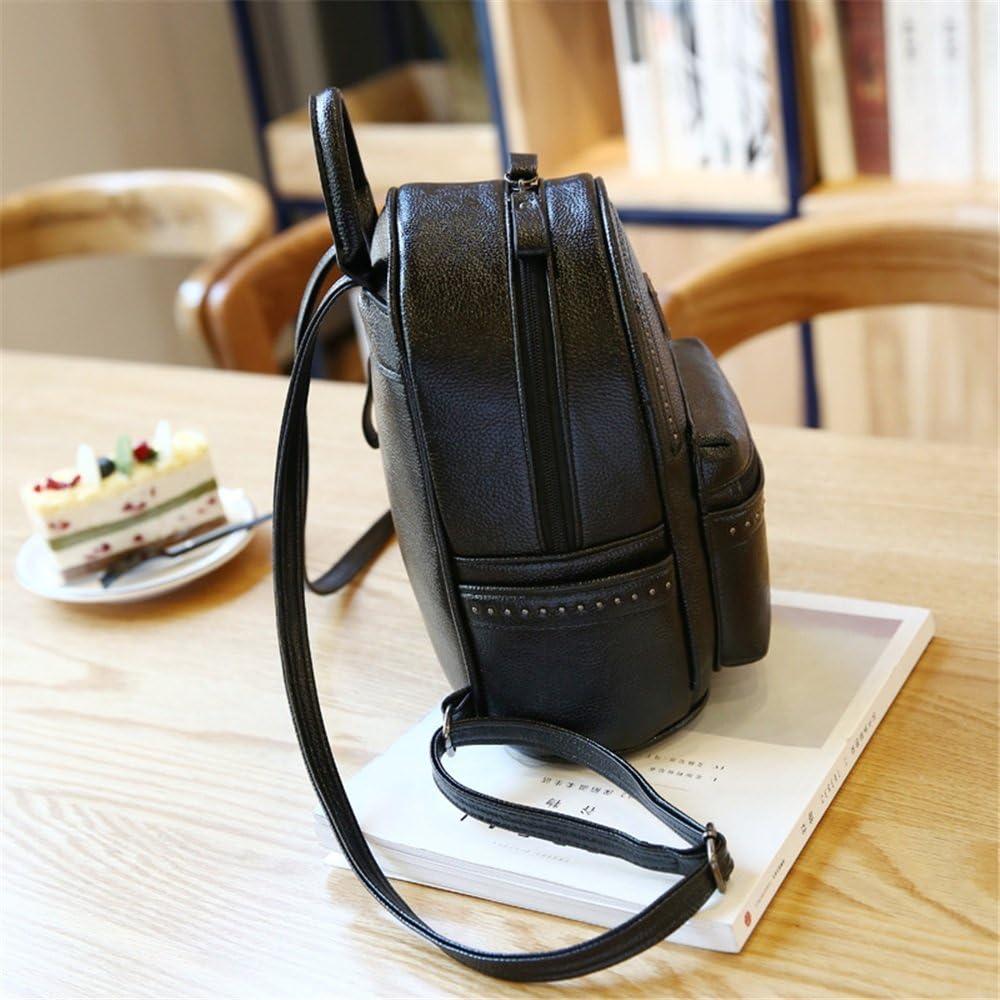 Color: Black FeliciaJuan Casual Womens Backpack Rivet Zipper Waterproof PU Daypack Travel Outdoor Shopping