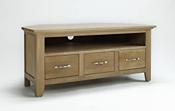 big sale 2fa10 cf8cc Camberley Oak 3 Drawer Corner TV Cabinet with Light Oak Finish 110cm    Wooden Television Unit Including 1 shelf for Consoles or DVD Players    Solid ...