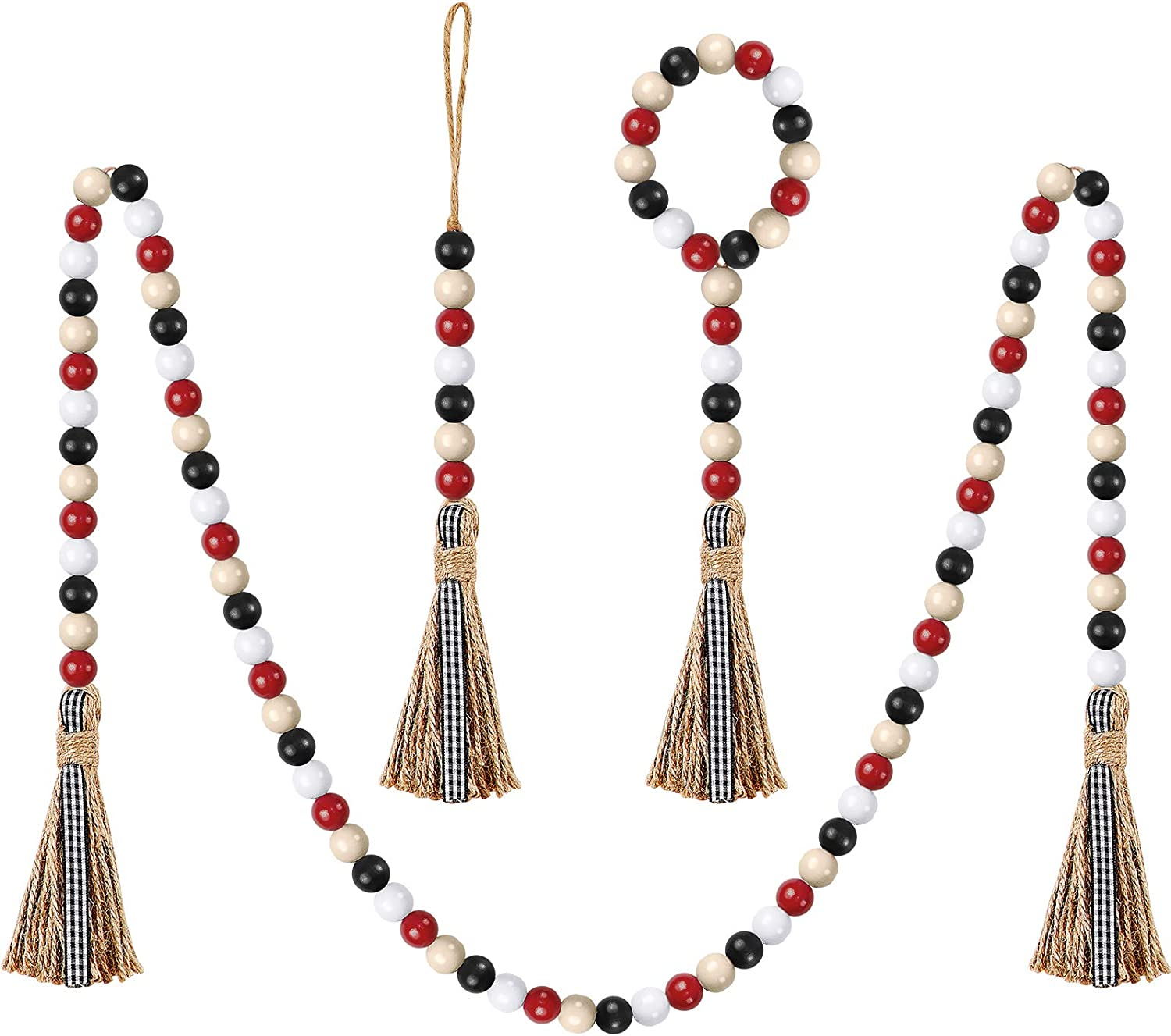 3 Pieces Plaid Wood Beads Tassels Cotton Garland with Tassels Wood Bead Tassel Banner for Christmas Party Home Baby Shower Birthday Decoration Wall Hanging Photo Prop (Black, White, Red, Creamy-White)