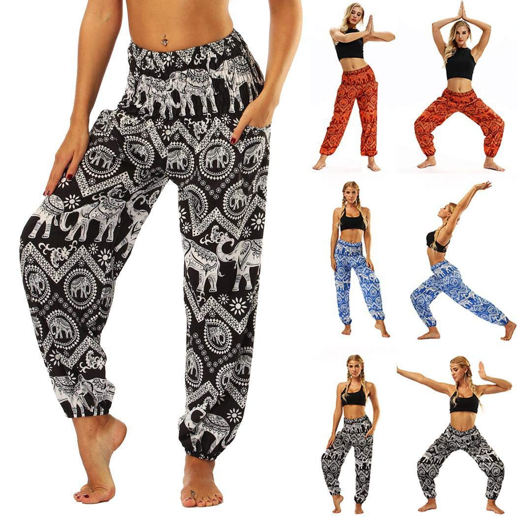 UpBeauty Women Print Yoga Fitness Pants Elastic Waist Stretch Casual Lantern Trousers Track Pants Black White