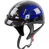 Rebel R100 Blue Wave Half Helmet - Large