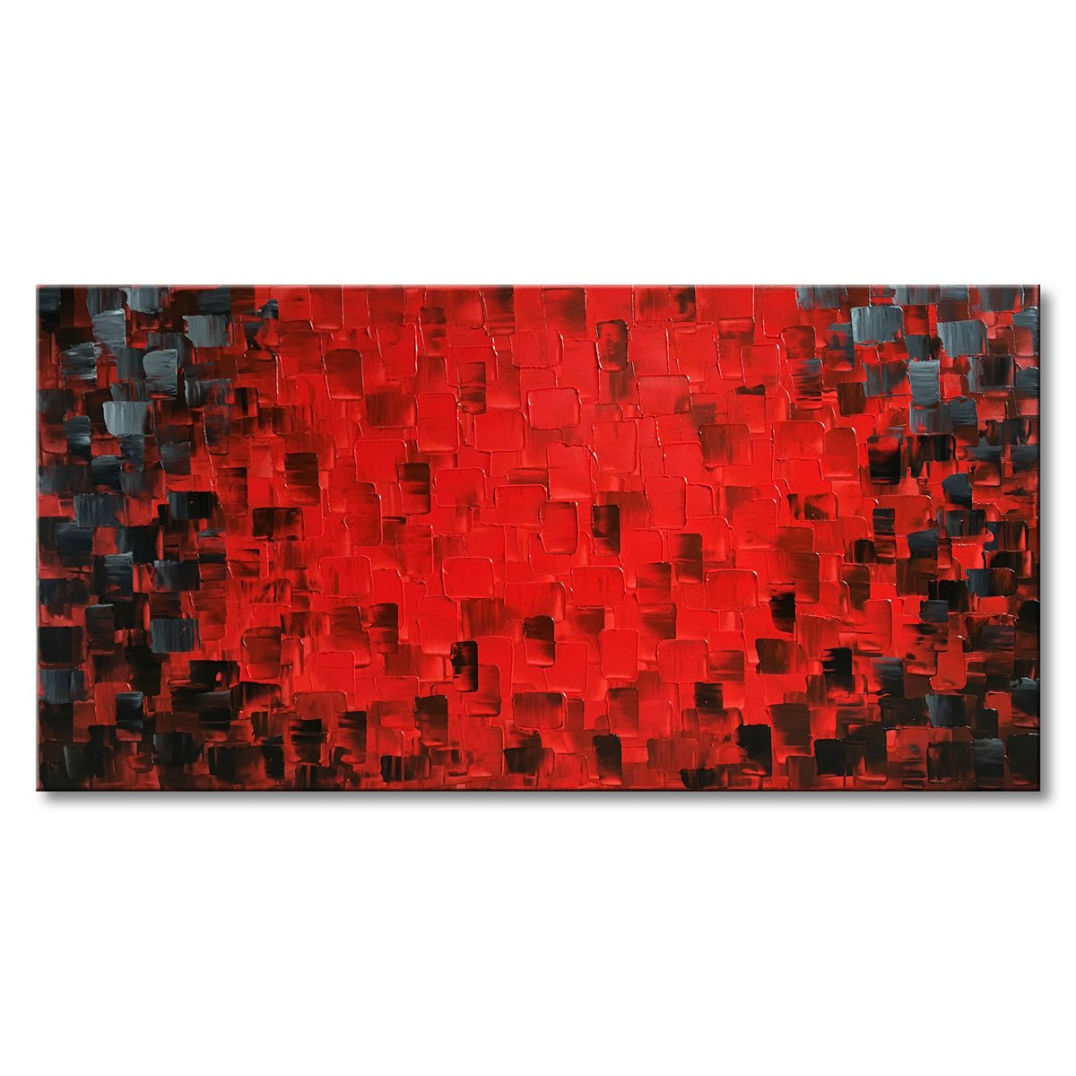 Seekland Art Red Abstract Canvas Art Modern Handmade Textured Oil Painting Wall Decoration Picture Unframe 72''W x 36''H by Seekland Art