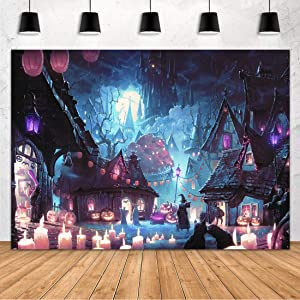 Aperturee 7x5ft Halloween Backdrop Haunted Castle Witch Wizard Scary Full Moon Night Pumpkin Lantern Photography Background Trick or Treat Baby Shower Birthday Home Decor Photo Booth Shoot Studio Prop