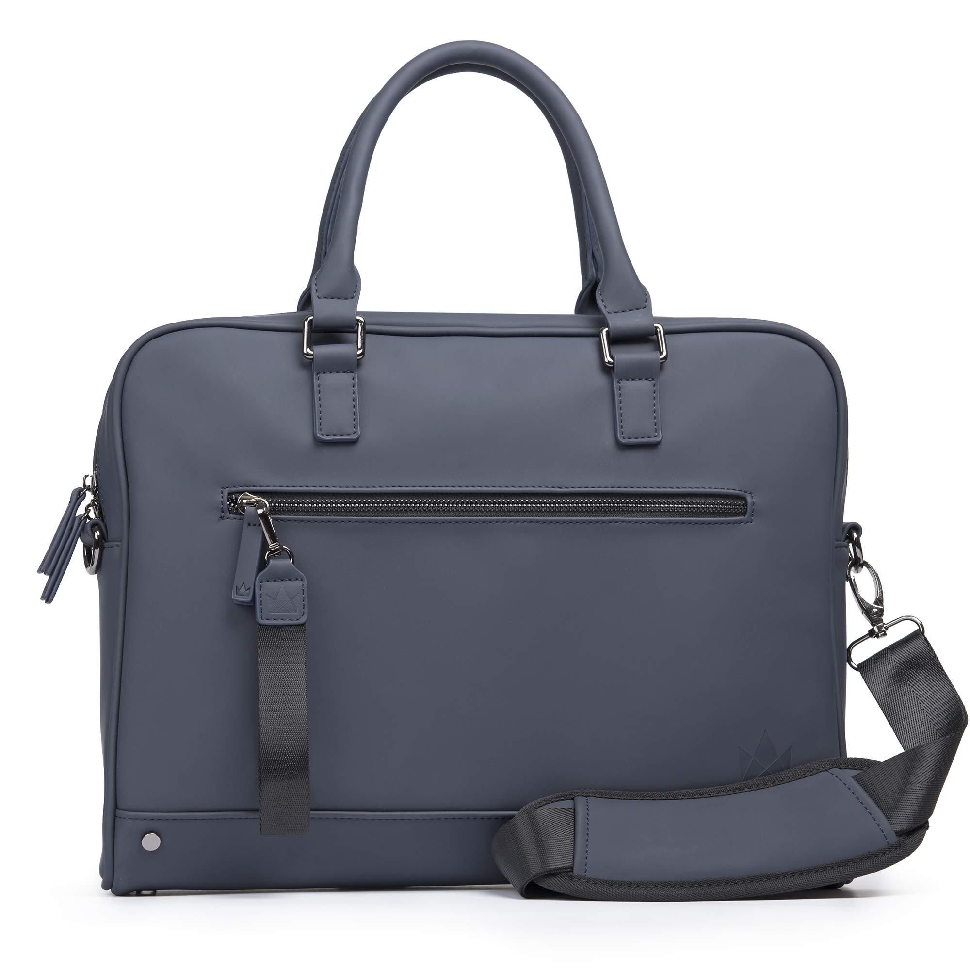 The Friendly Swede 13 inch Slim Laptop Bag for Women and Men - Shoulder Strap, Minimalist Notebook Executive Computer Case Business Briefcase, Vegan PU - VRETA