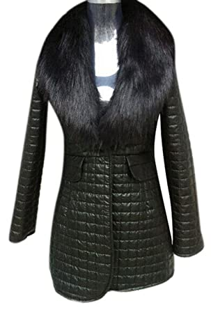 77a5a2ddbb2 Enlishop Women Black Faux Fur Collar Pocket Puffer Quilted Leather Down  Jacket at Amazon Women's Coats Shop
