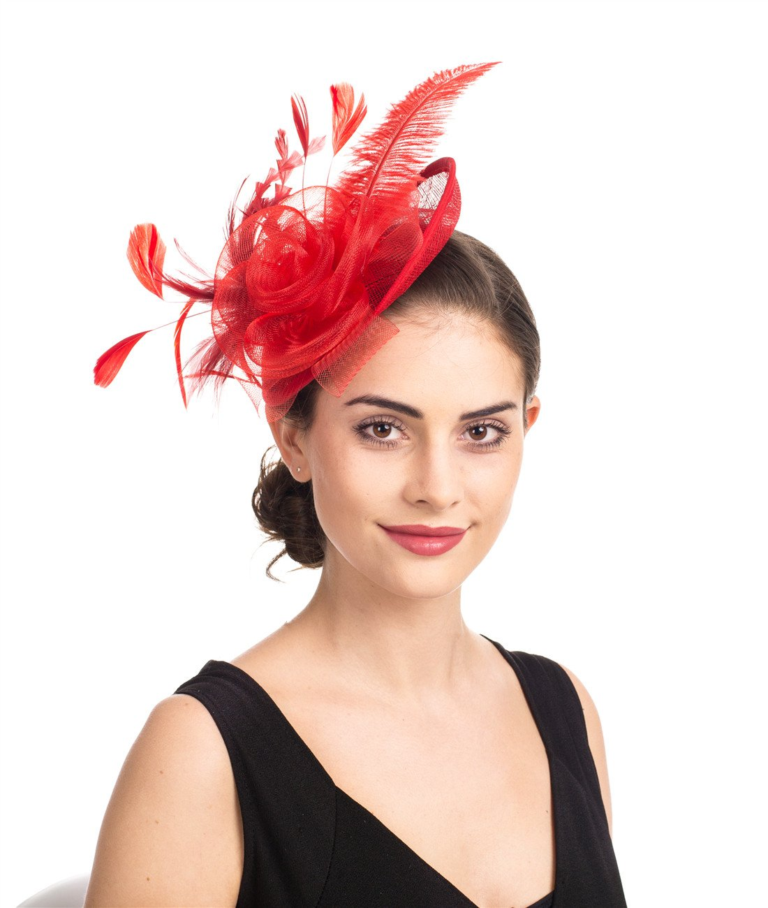 SAFERIN Fascinators Hat Flower Mesh Feathers on a Headband and a Clip Tea Party Headwear for Girls and Women (TA4-sinamay Feather Red)