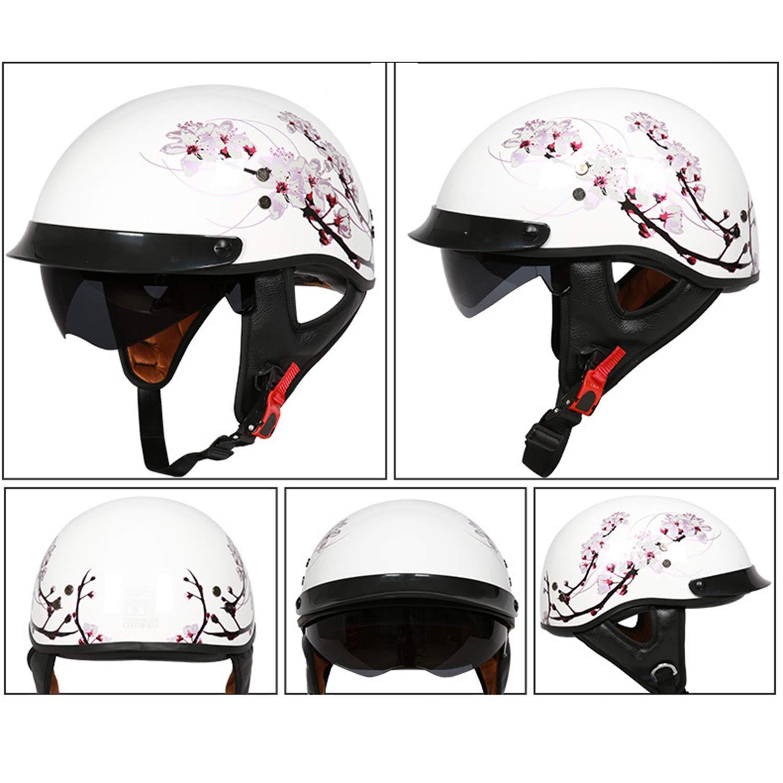 MMRLY Casco Retro de Moto de Cara Abierta con Gafas de Sol Invisibles Anti-UV Material de FRP Cascos Medio para Motocicleta Scooter Cruiser /· Certificado ECE,A,M