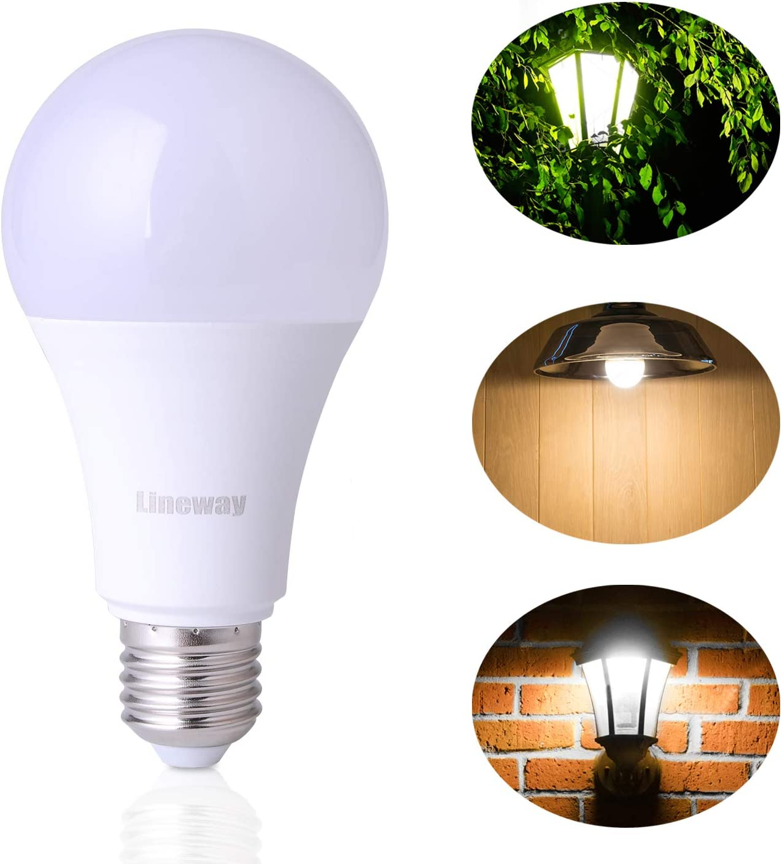 Lineway Motion Sensor Light Bulb, Smart Radar LED Light Bulb, 12W E27 6000K Dusk to Dawn Light Bulb Automatic On/Off Lighting, Indoor Outdoor Light for Porch Garage Yard Hallway Garden
