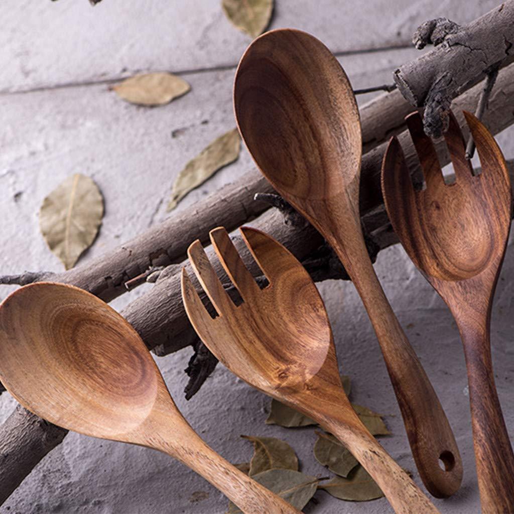 22cm htfrgeds 2Pcs Cuill/ères De Cuisine en Bois Naturel Cuisine Cuill/ère /À Salade Grande Fourchette Ustensiles en Bois Vaisselle