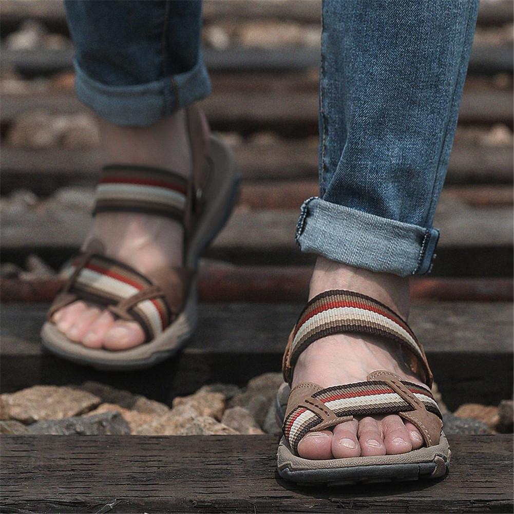 NSLXIE Männer Schuhe Aus Echtem Leder Offene Sandalen Strap Strand Sommer Offene Leder Spitze Flip-Flops Casual Hausschuhe Rutschfeste Outdoor-größe 38 Bis 43, schwarz, EU39 Braun-eu39 4bec76