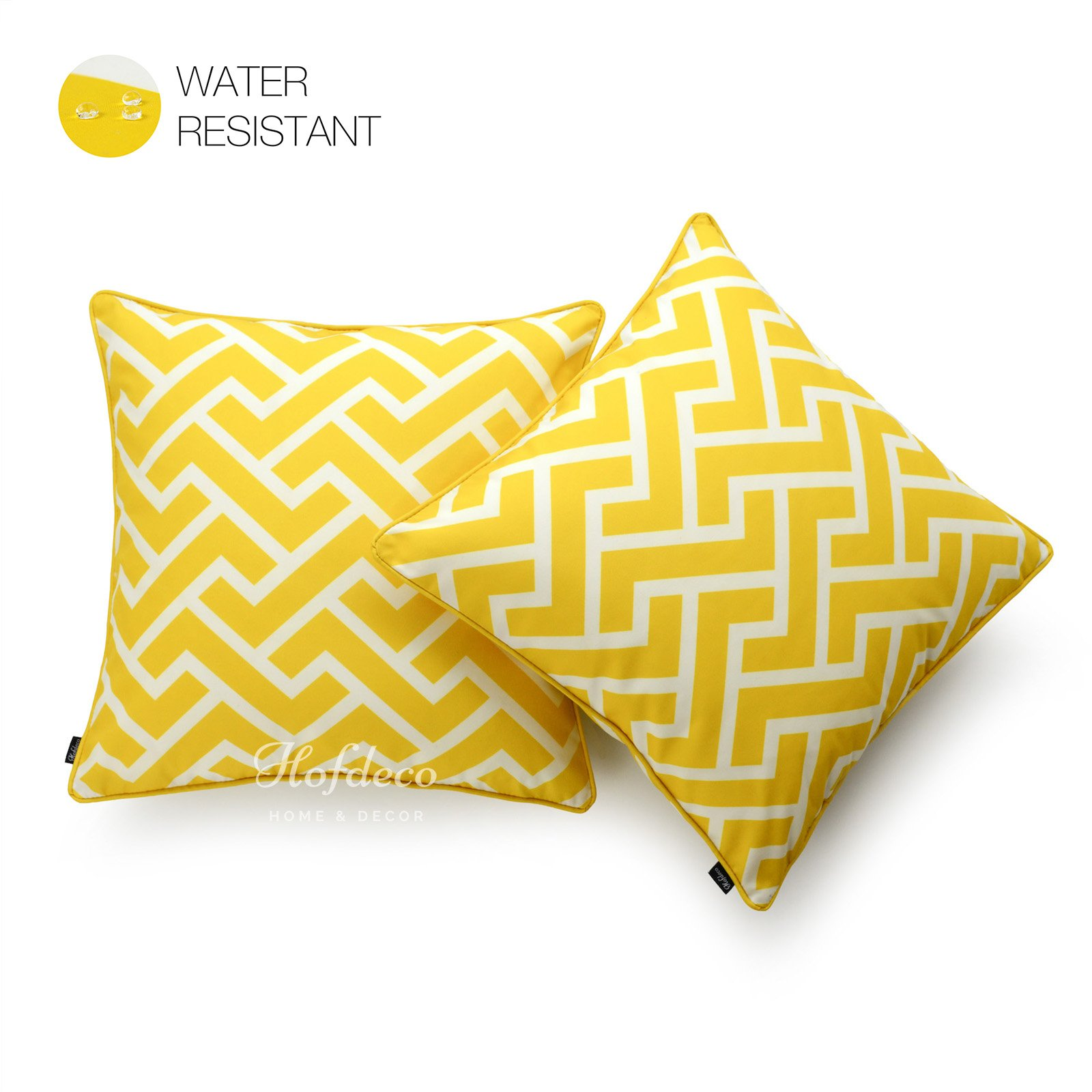 Hofdeco Decorative Throw Pillow Cover INDOOR OUTDOOR WATER RESISTANT Canvas Vibrant Yellow City Maze 18''x18'' Set of 2