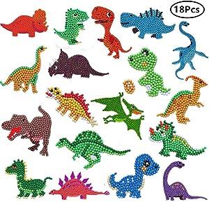 Rainmae 18 Pcs 5D Dinosaur Diamond Painting Kits, Children's Painting Number Arts, DIY Mosaic Diamond Stickers Craft, Water Bottle Refrigerator Graffiti Stickers