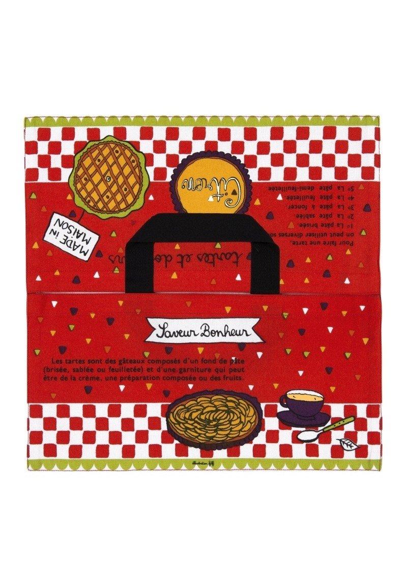 Red and grey French Language Version Derri/ère La Porte Printed Cotton Tart//Quiche//Cake Carry Bag