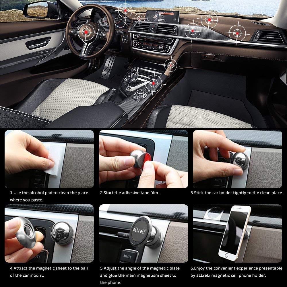 Samsung Galaxy S7 //S8 //S6 Huawei und jedes andere Smartphone oder GPS-Ger/ät aLLreli Handyhalterung Magnet Universal Auto Halterung KFZ Halter f/ür iPhone 8 //7 //6s //6