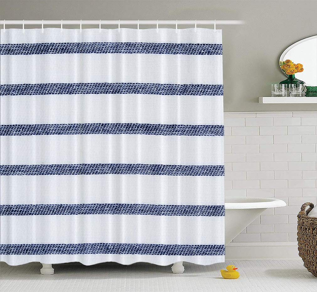 LILYMUA Fabric Shower Curtain Navy Blue and White Striped Cotton Fabric Twill Bathroom Shower Curtains for Bathroom Hotels Set of Hooks Mold Proof Water 72X72 Inches