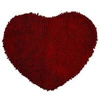 TOOGOO(R) Tapis de sol Tapis de bain utilitaire coeur rouge Chenille Paillasson