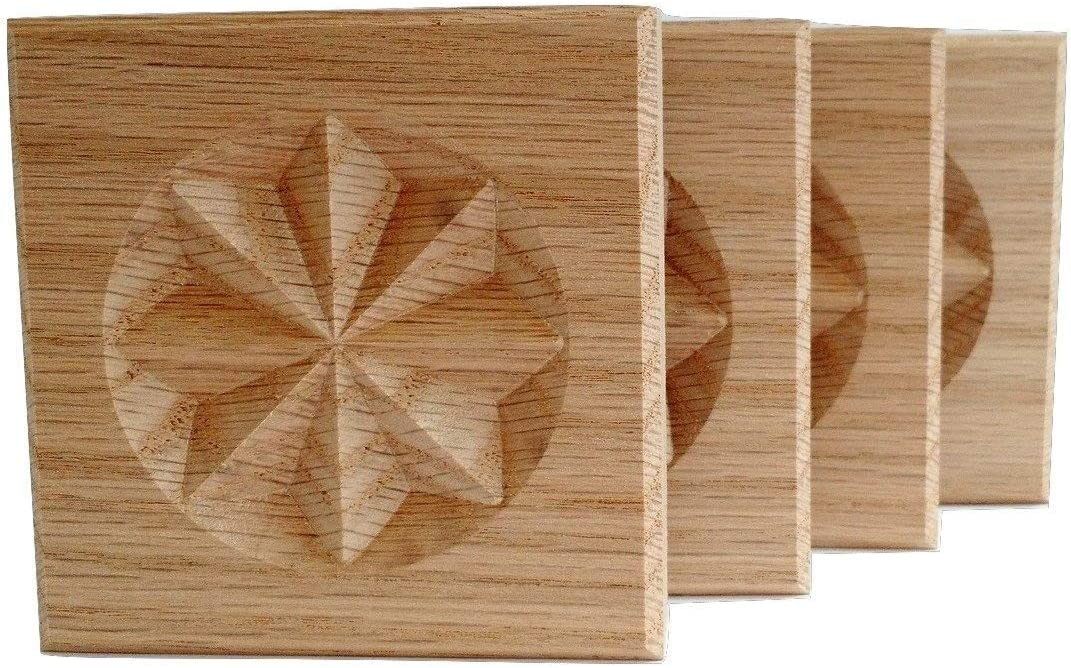 3.5X3.5 MDF Paint Grade Made in USA Set of 4:Carved CelticQuad Knot Rosette Blocks