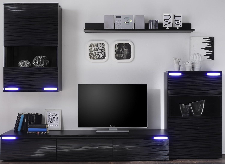 6.6.5.7.2734: günstige und moderne Wohnwand - Wohnzimmerschrank - TV-Wohnwand - mit Beleuchtung - schwarz dekor