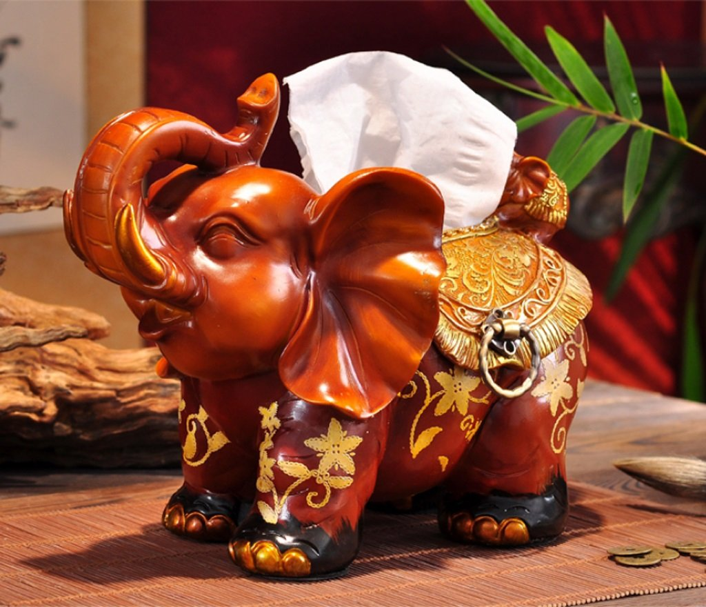Hyun times European resin tissue box tray pumping an elephant mother napkin box creative luxury living room decoration ornaments by Hyun times tissue box (Image #2)