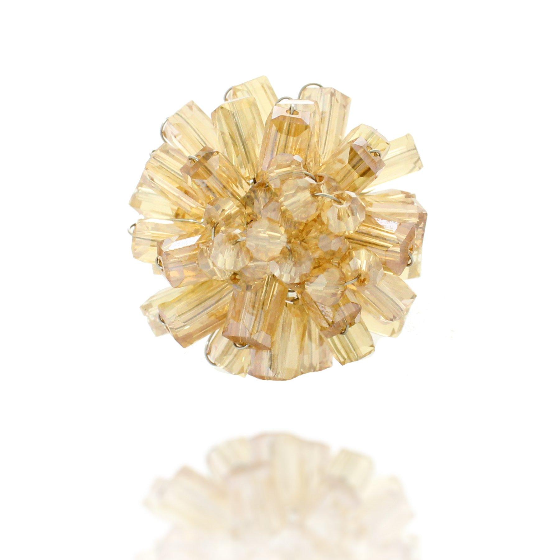 Chuvora Zinc Handwired Yellow Crystal Glass Beads Adjustable Ring