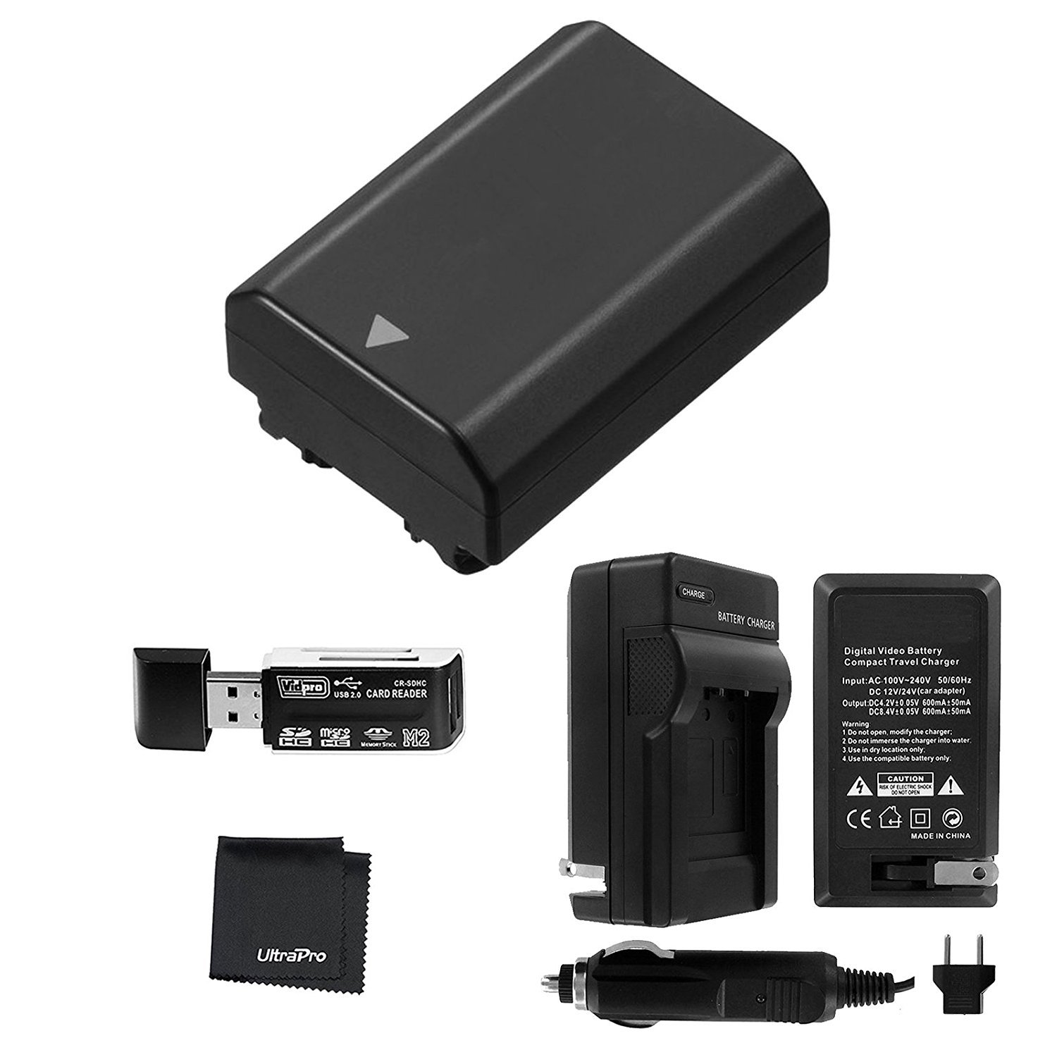UltraPro NP-FZ100 High-Capacity Replacement Battery with Rapid Travel Charger for Select Sony Digital Cameras. UltraPro Bundle Includes: USB SD/SDHC Card Reader, Deluxe Microfiber Cleaning Cloth