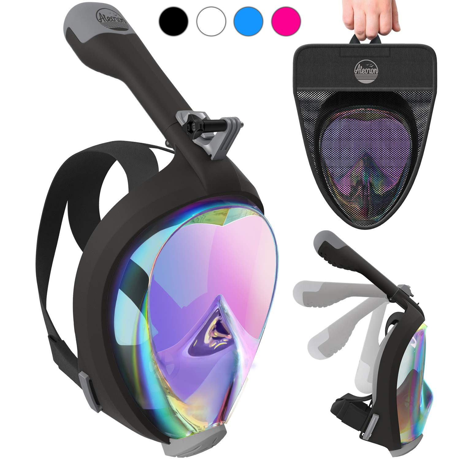 Aleoron - Full Face Snorkel Mask Foldable UV Easybreath - 2.0 Panoramic 180 Seaview Snorkeling Mask with Action Camera Mount - Scuba Mask Anti Fog for Adults & Youth (Women & Men) by Aleoron