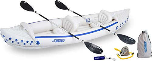 Sea Eagle 370 Deluxe 3 Person Inflatable Portable Sport Kayak Canoe w Paddles