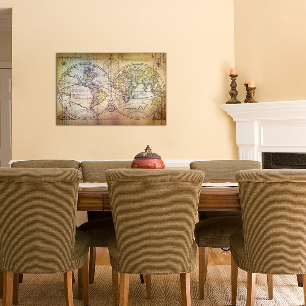 iCanvasART 3 Piece Planisphere Carte Canvas Print by Ginger 40 by 60//0.75 Deep