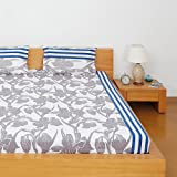 Solimo Silk Finish Floral Frieze 180 TC 100% Cotton Double Bedsheet with 2  Pillow Covers – Navy Blue