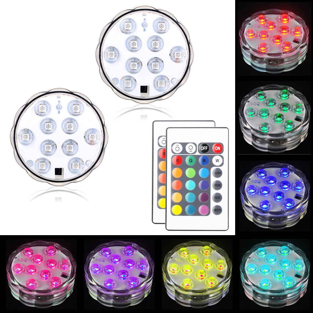 LOGUIDE LED Submersible Lights RGB Multi Color Remote Control Battery Powered Waterproof Lights for Fountain Pool Hot Tub Wedding Pond Decoration Centerpieces Vase Party (2 PACK)
