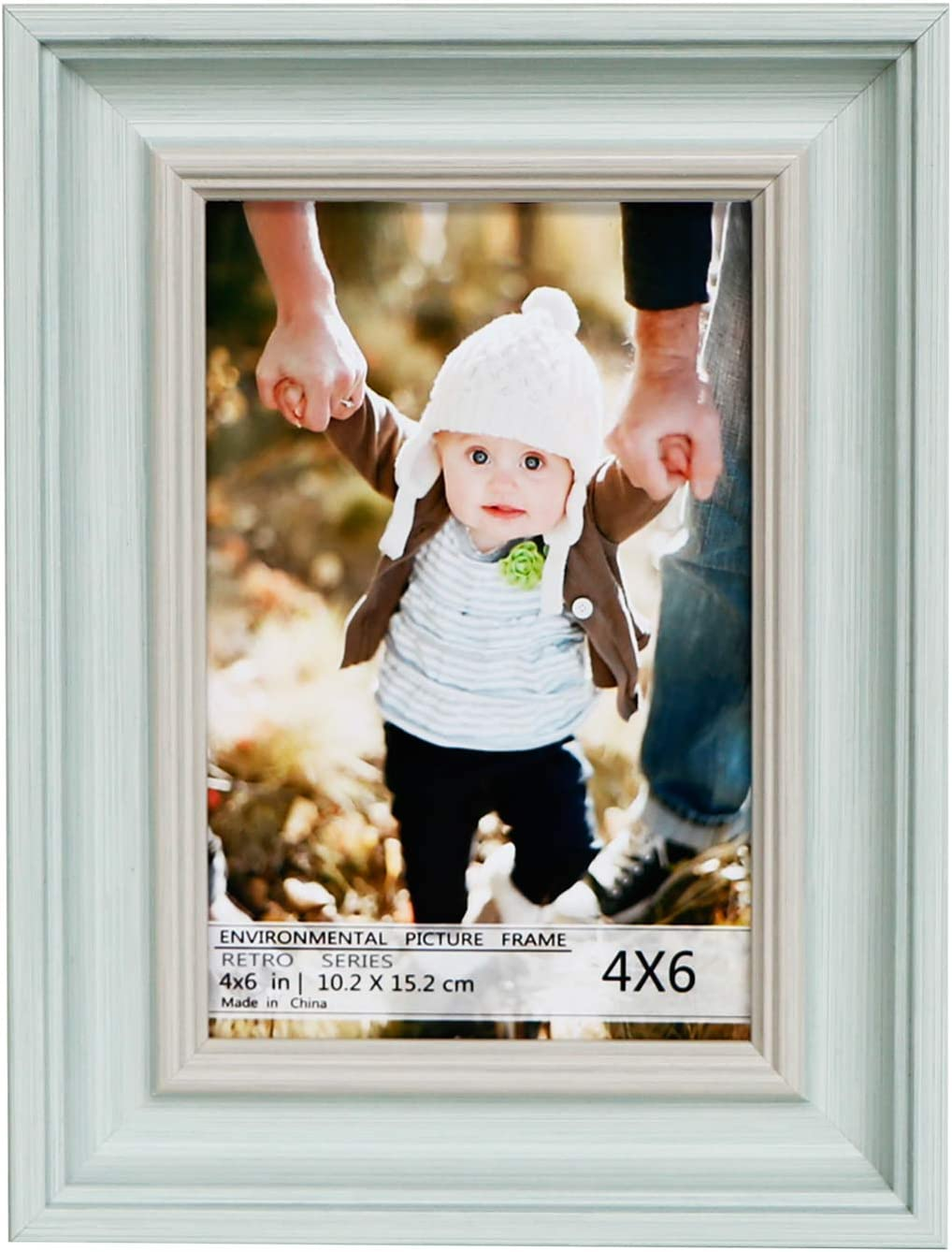 Juwide 4x6 Picture Frames,Light Blue Photo Frame Made of Solid Wood High Definition Glass for Table Top and Wall mounting