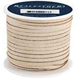 Realeather Crafts Suede Lace, 0.125-Inch Wide 25-Yard Spool, Beige