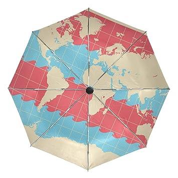 7cef59320cae Amazon.com: Wave Red Blue Map Travel Umbrella Windproof,Anti UV ...