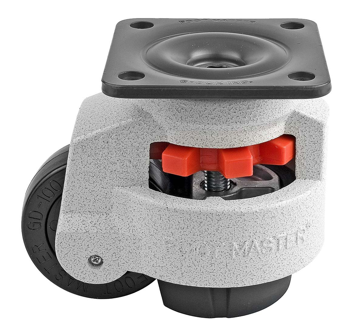 FOOTMASTER GD-100F Nylon Wheel and NBR Pad Leveling Caster, 1650 lbs, Top Plate 3 3/4'' x 3 3/4'', Bolt Holes 2 3/4'' x 2 3/4'', Ivory Finish