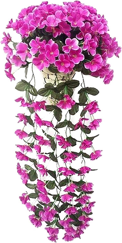 Artificial Chlorophytum Bouquet Anti-Irradiation Artificial Garden Plant Fence, Outdoor Indoor Use Garden Fence Backyard Home Decor Greenery Walls, Home Decor, 6 Styles (Purple)