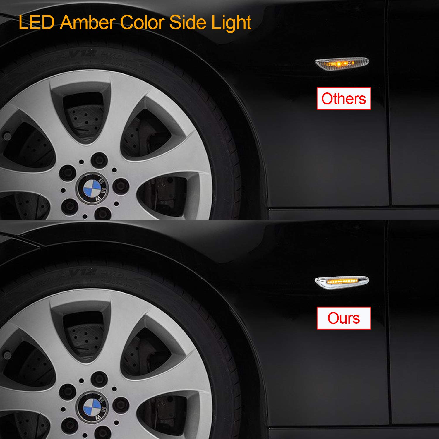 Side Indicator Gempro 2 X LED Side Marker Amber 18 SMD with CAN-bus OBC Error Free OE Socket Clear Turn Signal Light For E46 E36 E90//E91 E60//E61 E81 E82 E87 E88 E92//E93 E84 E83 E53