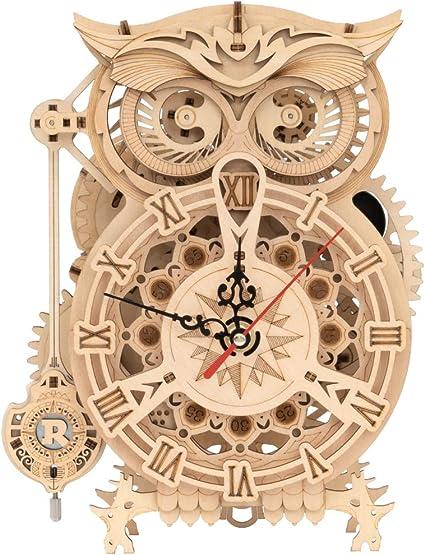 RoWood 3D Wooden Puzzle, Clock Model Kits Gift Owl Clock