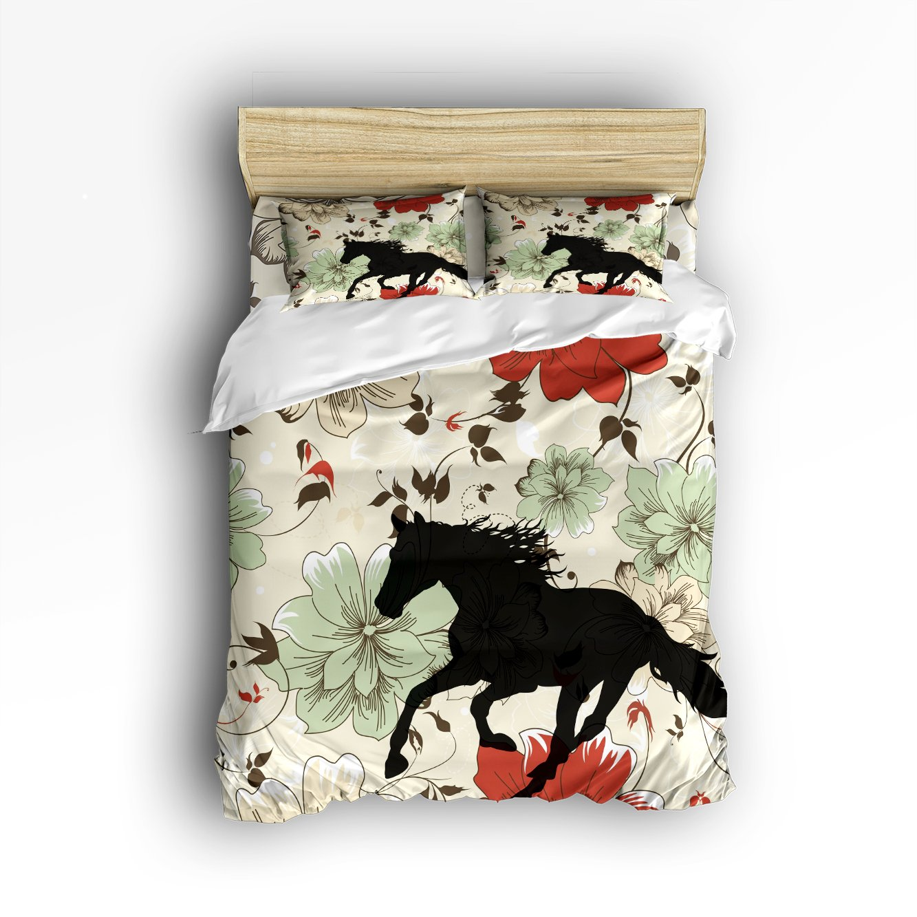 Ultra Soft 4 Pcs Bedding Sets Cotton Modern Luxury Bedding Colorful Flowers with Transparent Horse Pattern Printed Home Comforter Bedspread Duvet Cover Set King Size by KAROLA
