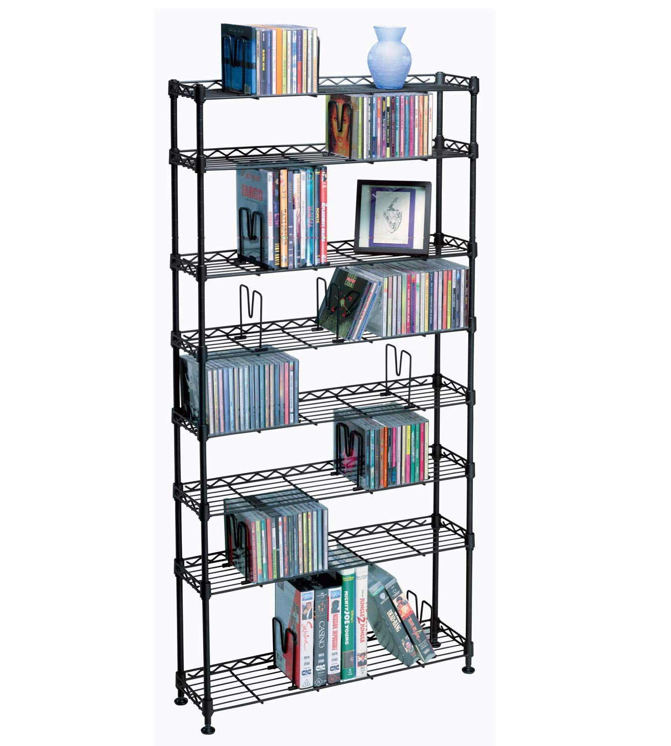 Atlantic Maxsteel 8 Tier Shelving - Heavy Gauge Steel Wire Shelving for 440 CD/228 DVD/264 BluRay/Games Media in Black - 3020 (Renewed) by Atlantic