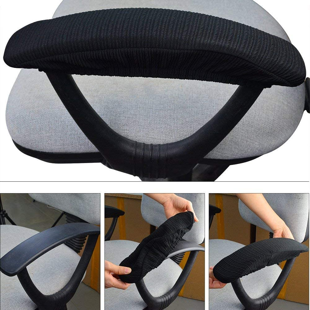 Black Flexible Chair Arm Rest Stretchy Chair Armrest Protector Set of 2 Teydhao Office Computer Chair Arm Covers