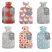 City Comfort  Hot water bottle with soft fleece cover - Natural rubber 2 litre - British design - Uk safe tested