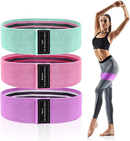 Resistance Bands Set of 3 for Legs and Butt Workout Fabric Booty Elastic Band Gym Exercise Equipment Fitness Squat Sports Glute Stretch Leg Resistant Bands for Working Out for Women /& Men
