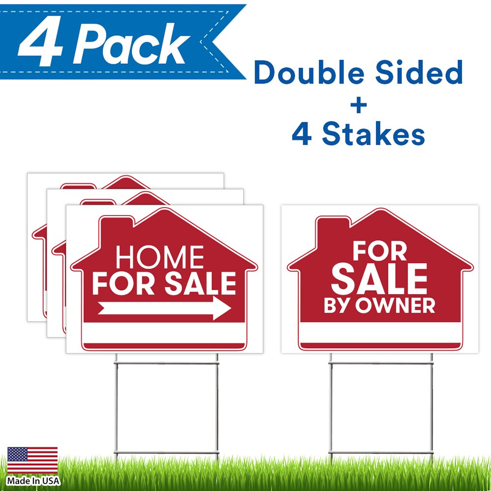 For Sale By Owner Sign - 4 Premium Yard Signs Bulk Pack - 18'' x 24'' Inches - Large Directional Arrows - Double Sided Real Estate Sale Stand Post with H Wire Stakes - Realtor Agents Supplies (Red)