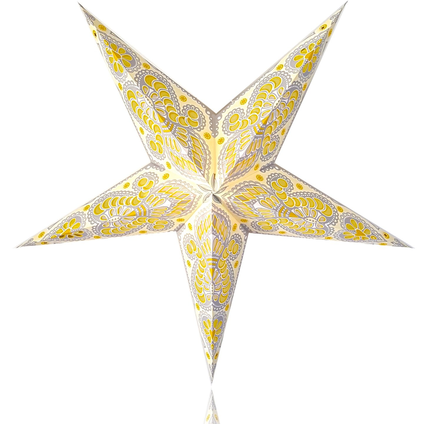 Happy Sales HSSL-FAYLGB Frozen Aurora Paper Star Lantern Yellow Grey,
