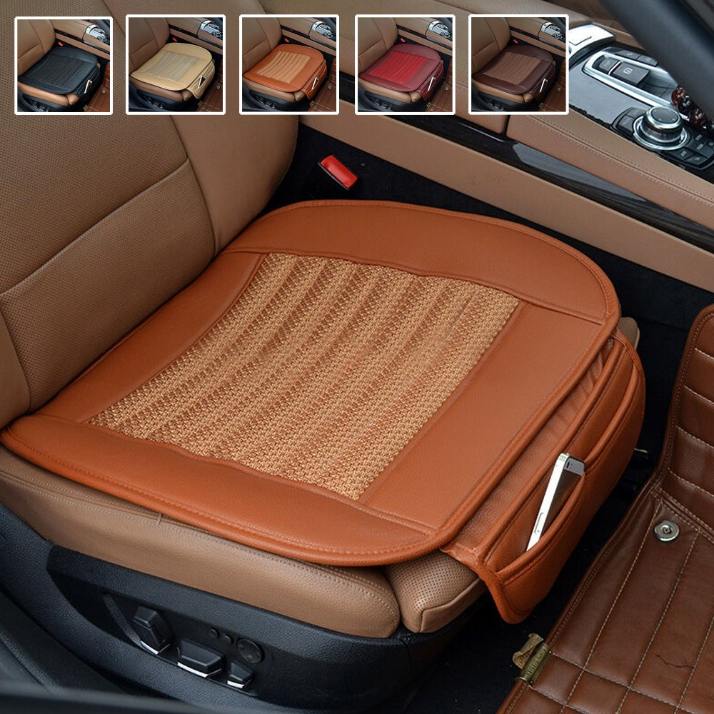 Suninbox Car Seat Cushion, Car Seat Covers[Bamboo Charcoal] Breathable Comfortable Car Cushion,Anti-Skid Leather Four Seasons General car seat Protector [Beige]