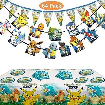 Juego de 65 piezas de suministros de fiesta de cumpleaños de Pokémon para niños y niños, Pikachu Party Favor incluye decoración de tartas de cumpleaños platos de mesa: Amazon.es: Juguetes y juegos