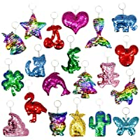 20 Pieces Reversible Mermaid Sequin Keychain Glitter Flip Sequin Keychains Animal Shape Sequin Key Chains for Kids Party…