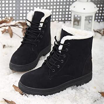 Womens Flat Ankle Boots Warm Fur Winter Snow Boots Shoes Black 7.5